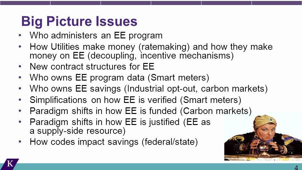 Big Picture Issues Who administers an EE program How Utilities make money (ratemaking) and how they make money on EE (decoupling, incentive mechanisms) New contract structures for EE Who owns EE program data (Smart meters) Who owns EE savings (Industrial opt-out, carbon markets) Simplifications on how EE is verified (Smart meters) Paradigm shifts in how EE is funded (Carbon markets) Paradigm shifts in how EE is justified (EE as a supply-side resource) How codes impact savings (federal/state) 41