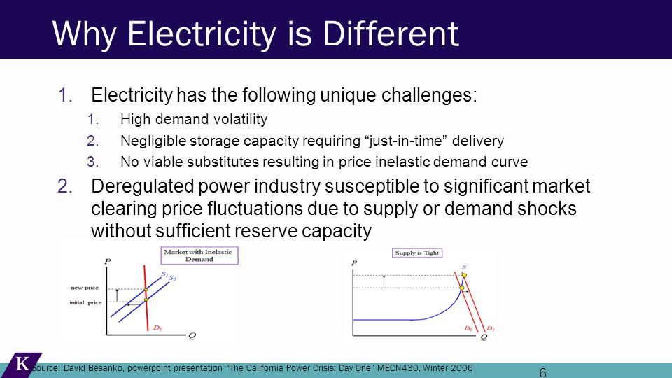 6 Why Electricity is Different 1.Electricity has the following unique challenges: 1.High demand volatility 2.Negligible storage capacity requiring just-in-time delivery 3.No viable substitutes resulting in price inelastic demand curve 2.Deregulated power industry susceptible to significant market clearing price fluctuations due to supply or demand shocks without sufficient reserve capacity 1 Source: David Besanko, powerpoint presentation The California Power Crisis: Day One MECN430, Winter 2006