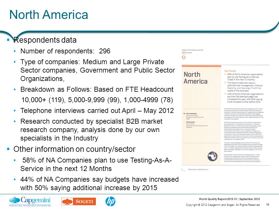10 Copyright © 2012 Capgemini and Sogeti. All Rights Reserved World Quality Report 2012-13 | September 2012 North America  Respondents data Number of