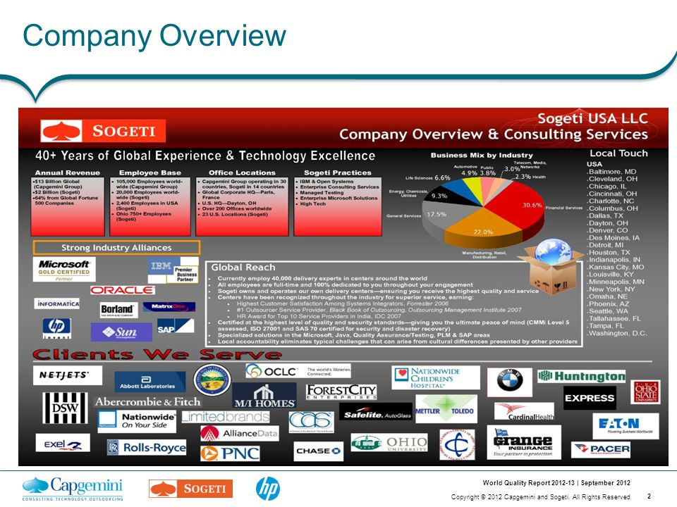 2 Copyright © 2012 Capgemini and Sogeti. All Rights Reserved World Quality Report 2012-13 | September 2012 Company Overview