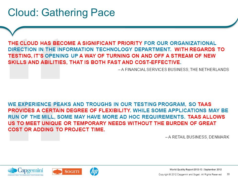 """33 Copyright © 2012 Capgemini and Sogeti. All Rights Reserved World Quality Report 2012-13 