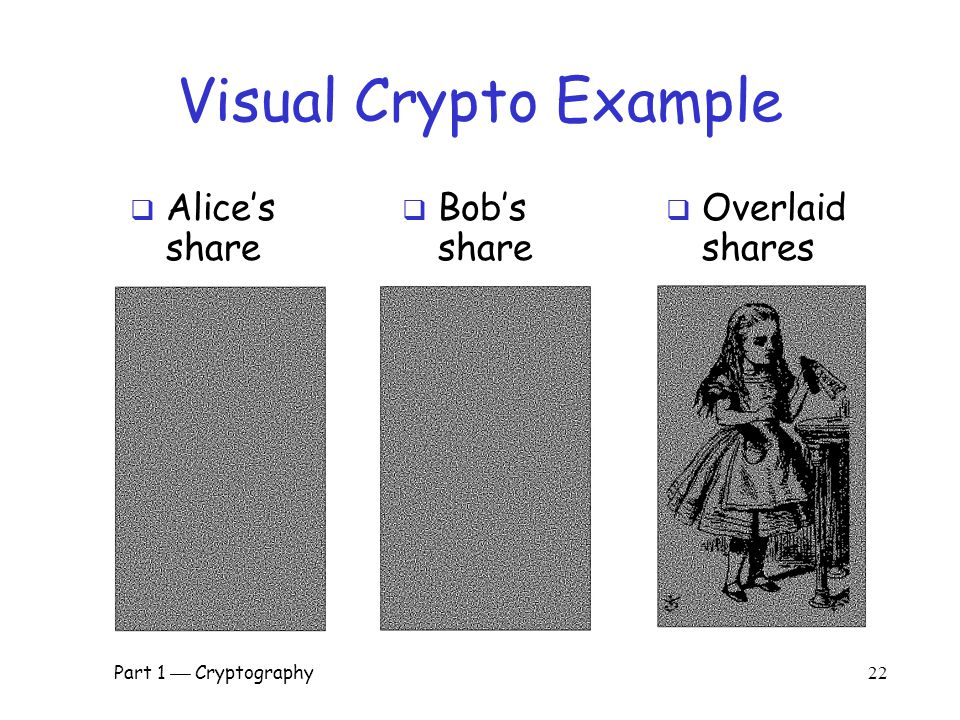 Part 1  Cryptography 21 Sharing a B&W Image  If pixel is white, randomly choose a or b for Alice's/Bob's shares  If pixel is black, randomly choose c or d  No information in one share