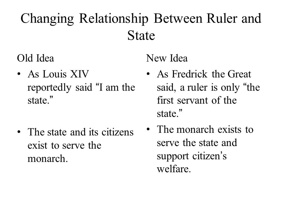 Changing Relationship Between Ruler and State Old Idea As Louis XIV reportedly said I am the state.