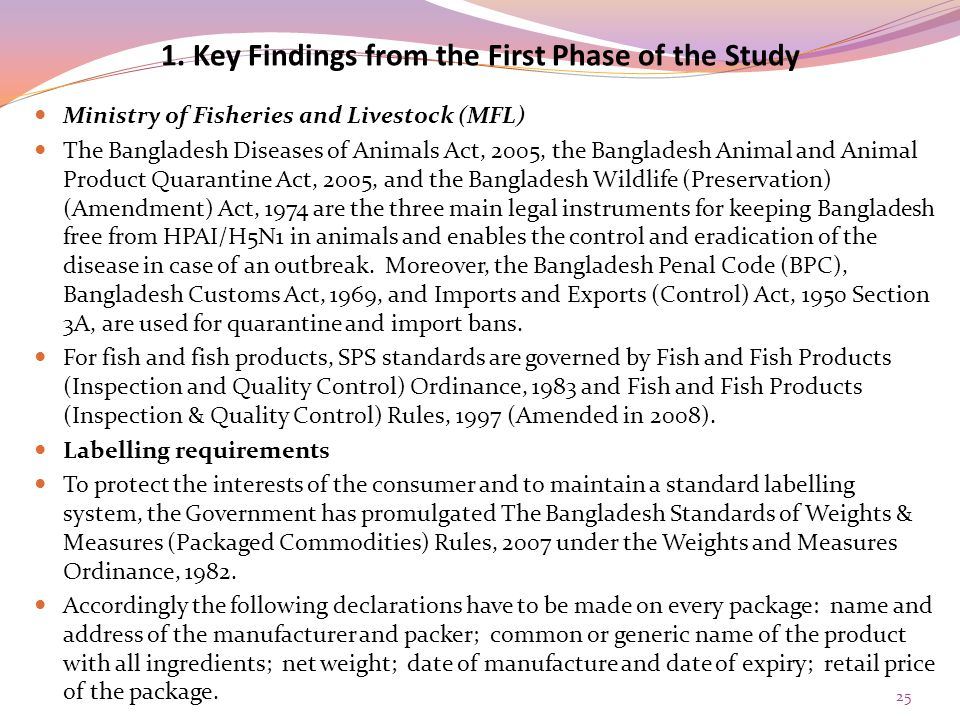 1. Key Findings from the First Phase of the Study Ministry of Fisheries and Livestock (MFL) The Bangladesh Diseases of Animals Act, 2005, the Banglade
