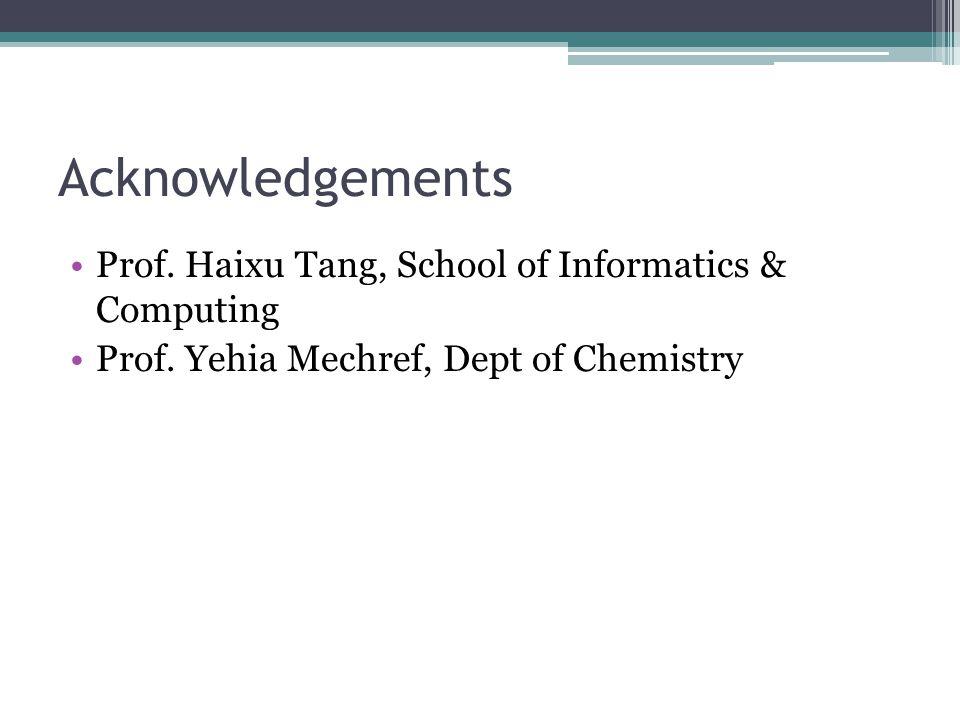 Acknowledgements Prof. Haixu Tang, School of Informatics & Computing Prof.