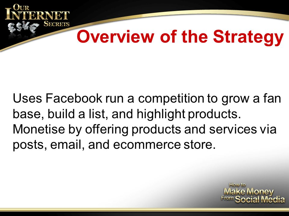 Overview of the Strategy Uses Facebook run a competition to grow a fan base, build a list, and highlight products.