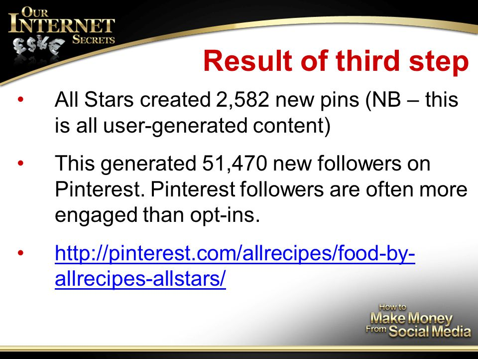 Result of third step All Stars created 2,582 new pins (NB – this is all user-generated content) This generated 51,470 new followers on Pinterest.