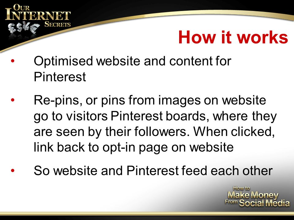 How it works Optimised website and content for Pinterest Re-pins, or pins from images on website go to visitors Pinterest boards, where they are seen by their followers.