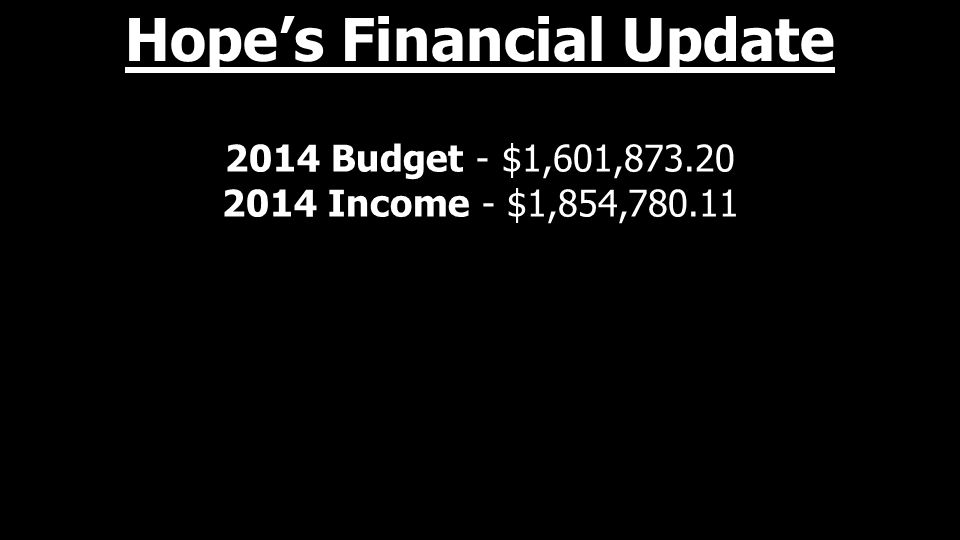 2014 Budget - $1,601,873.20 2014 Income - $1,854,780.11 Hope's Financial Update