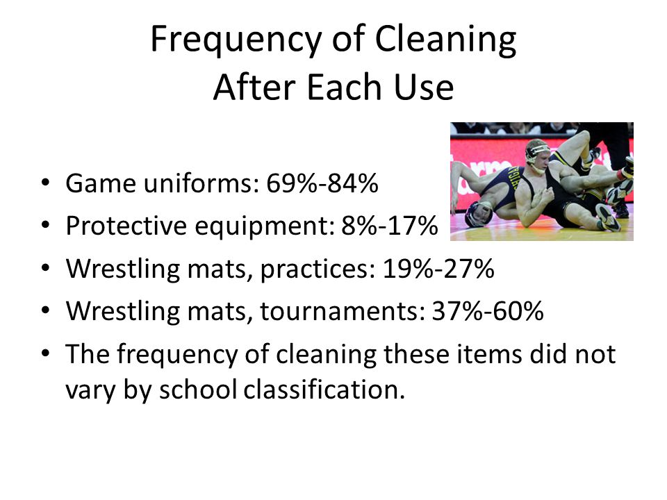 Frequency of Cleaning After Each Use Game uniforms: 69%-84% Protective equipment: 8%-17% Wrestling mats, practices: 19%-27% Wrestling mats, tournaments: 37%-60% The frequency of cleaning these items did not vary by school classification.