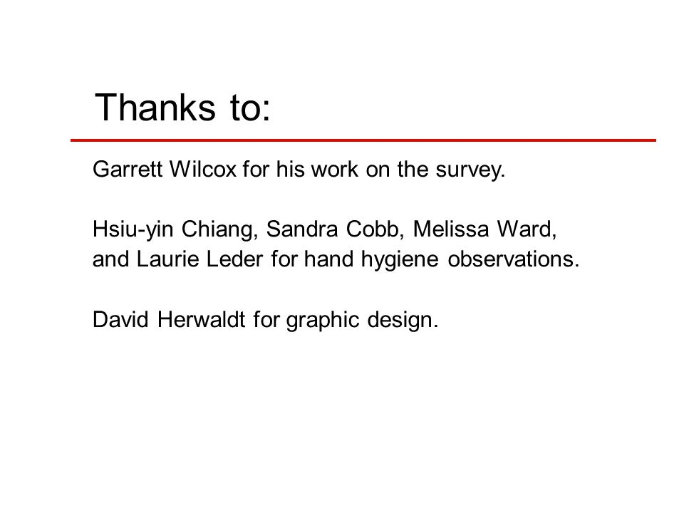 Thanks to: Garrett Wilcox for his work on the survey.