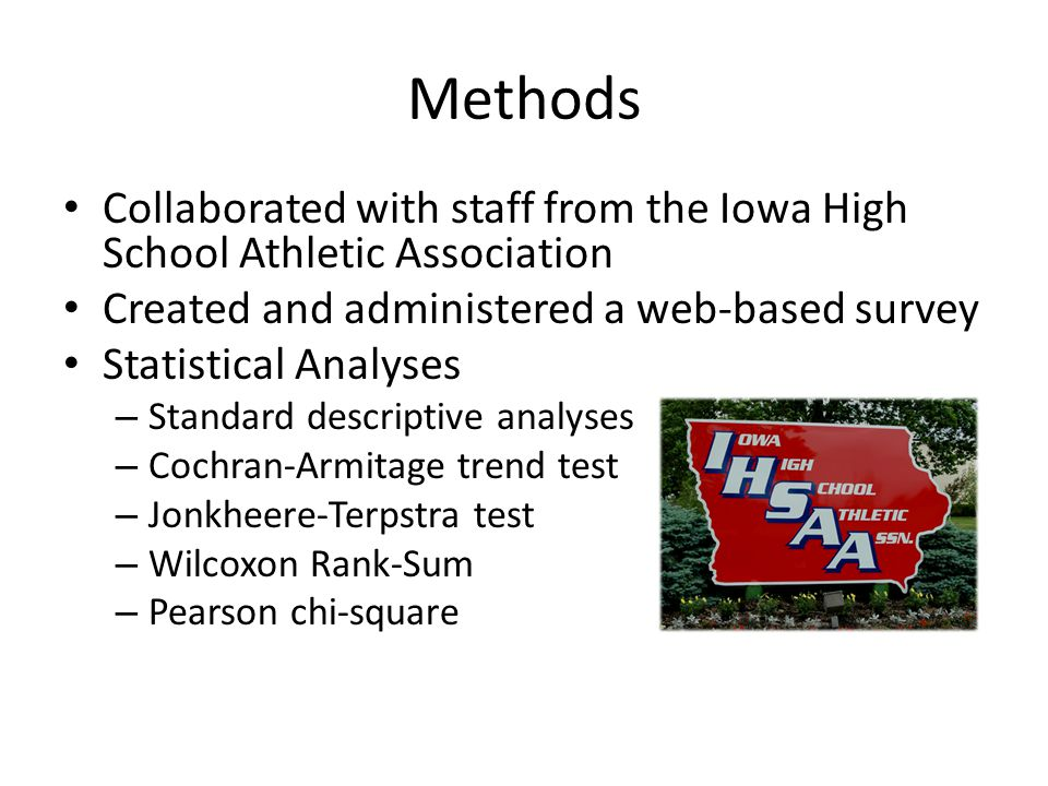 Methods Collaborated with staff from the Iowa High School Athletic Association Created and administered a web-based survey Statistical Analyses – Standard descriptive analyses – Cochran-Armitage trend test – Jonkheere-Terpstra test – Wilcoxon Rank-Sum – Pearson chi-square