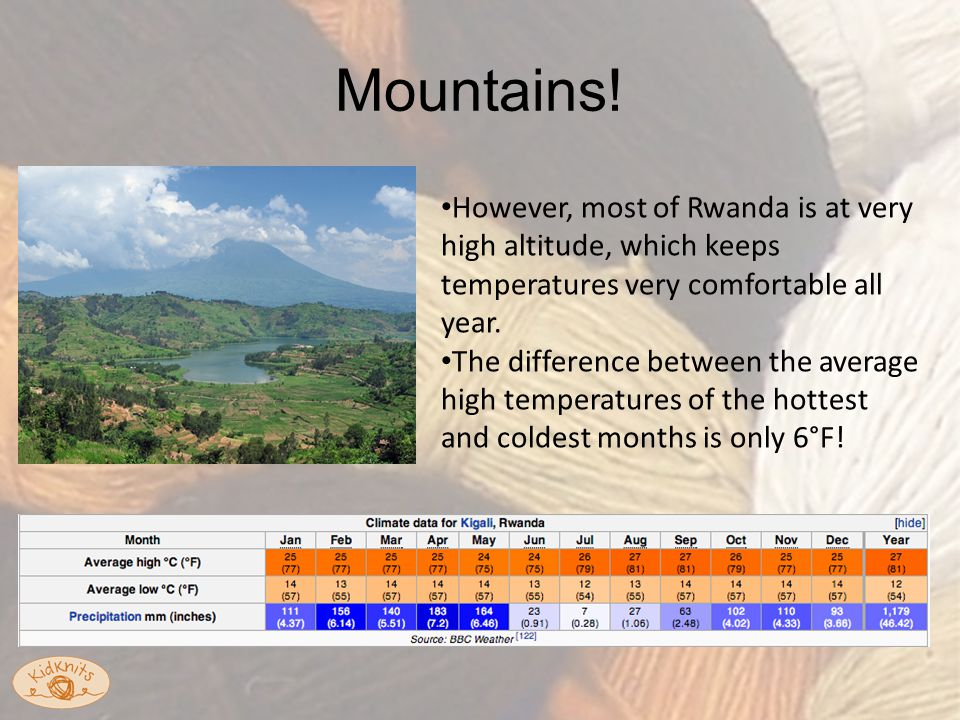 However, most of Rwanda is at very high altitude, which keeps temperatures very comfortable all year.