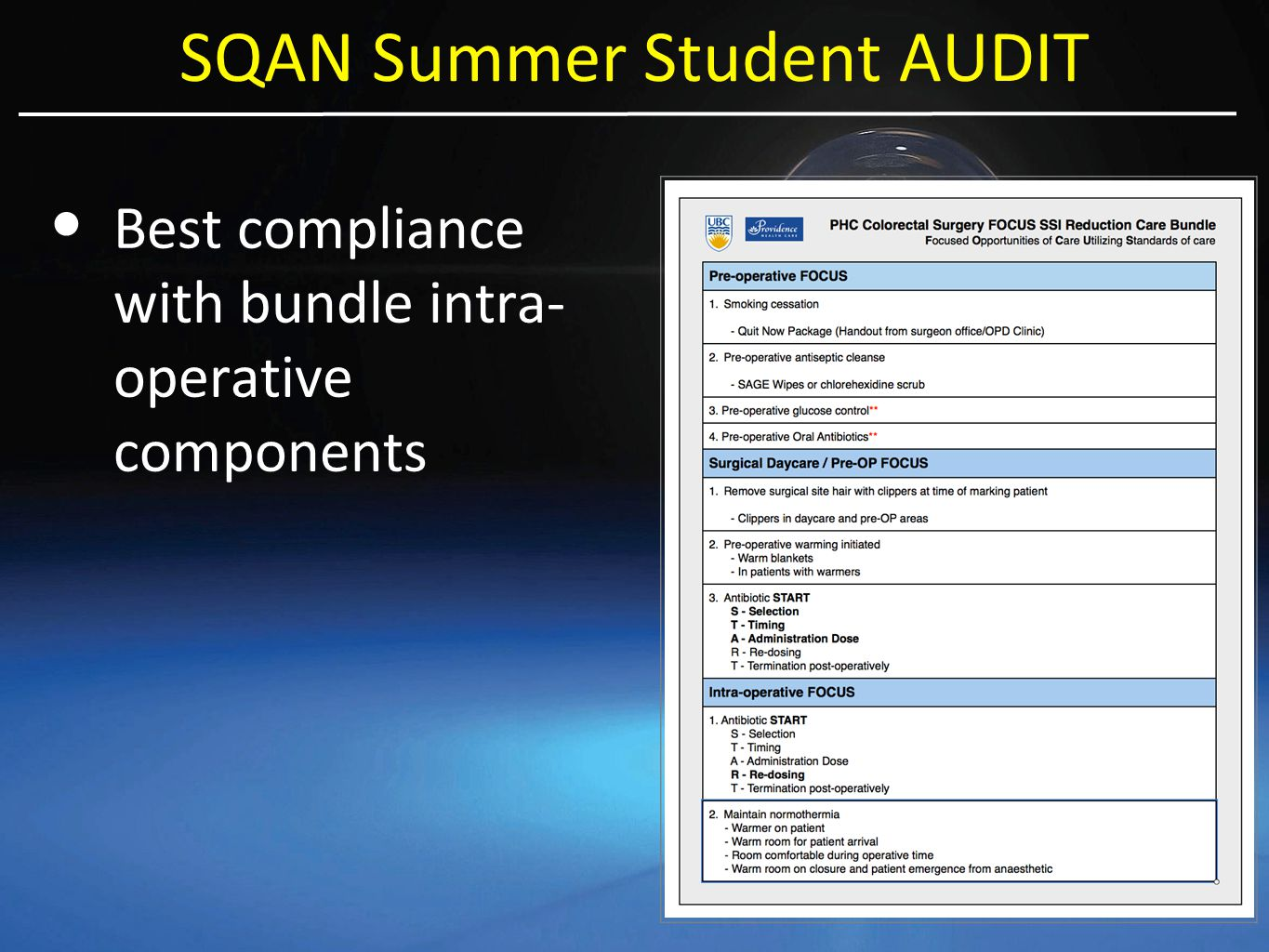 SQAN Summer Student AUDIT Best compliance with bundle intra- operative components