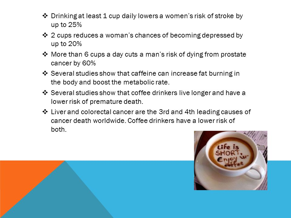  Drinking at least 1 cup daily lowers a women's risk of stroke by up to 25%  2 cups reduces a woman's chances of becoming depressed by up to 20%  More than 6 cups a day cuts a man's risk of dying from prostate cancer by 60%  Several studies show that caffeine can increase fat burning in the body and boost the metabolic rate.