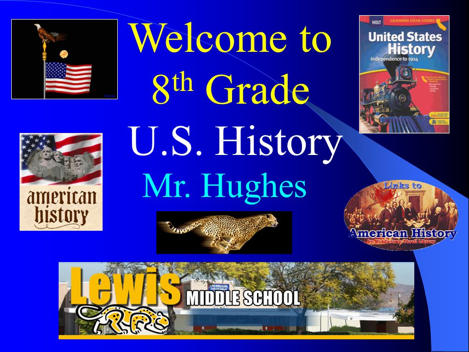 Welcome to 8 th Grade U.S. History Mr. Hughes