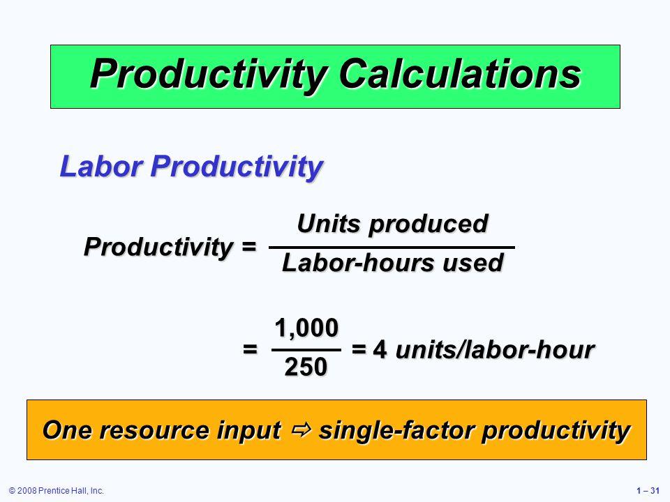 © 2008 Prentice Hall, Inc.1 – 31 Productivity Calculations Productivity = Units produced Labor-hours used = = 4 units/labor-hour 1,000250 Labor Productivity One resource input  single-factor productivity