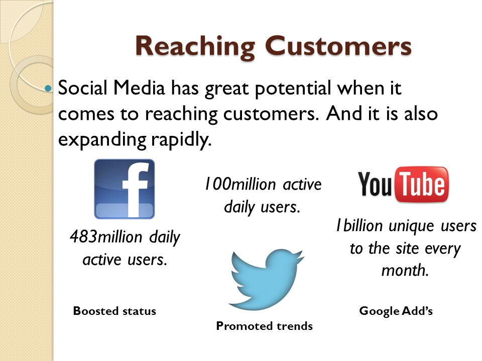 Reaching Customers Social Media has great potential when it comes to reaching customers.
