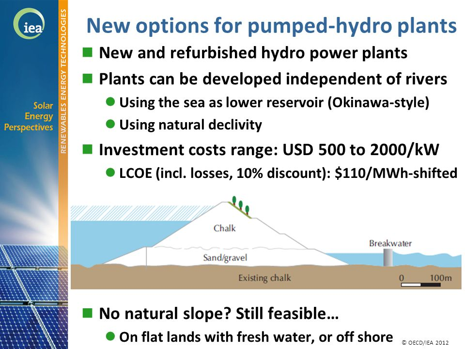 © OECD/IEA 2010 © IEA/OECD 2010 New options for pumped-hydro plants New and refurbished hydro power plants Plants can be developed independent of rivers Using the sea as lower reservoir (Okinawa-style) Using natural declivity Investment costs range: USD 500 to 2000/kW LCOE (incl.