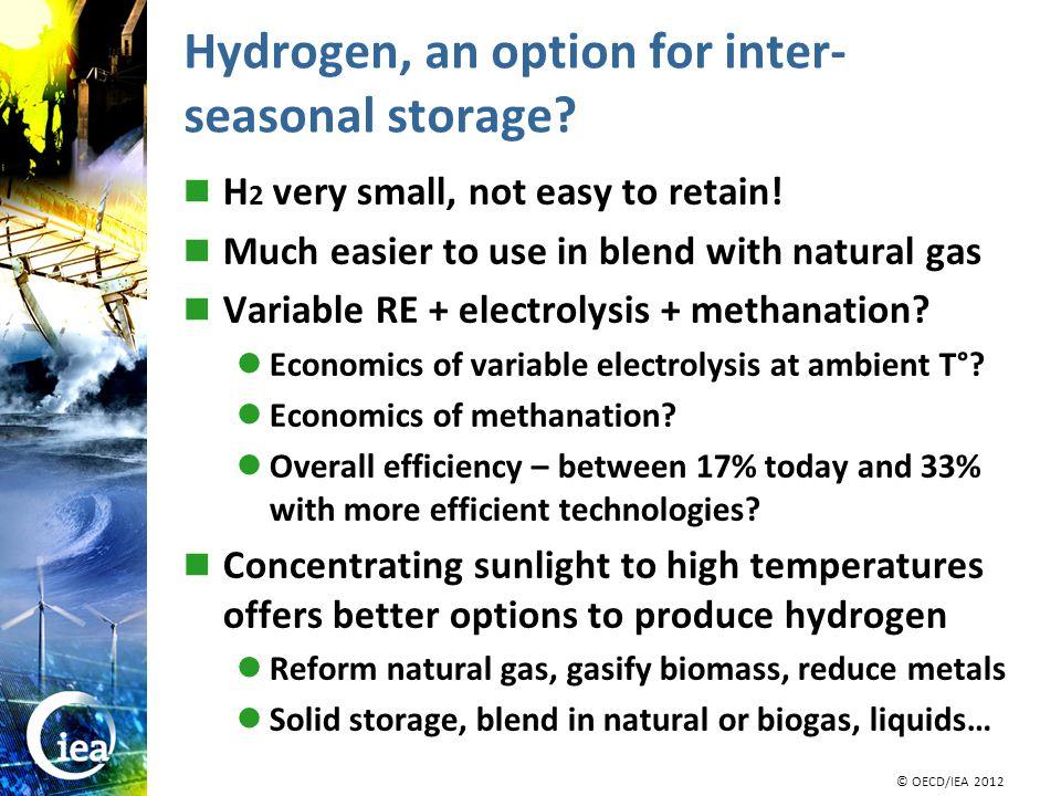 © OECD/IEA 2010 © IEA/OECD 2010 Hydrogen, an option for inter- seasonal storage.