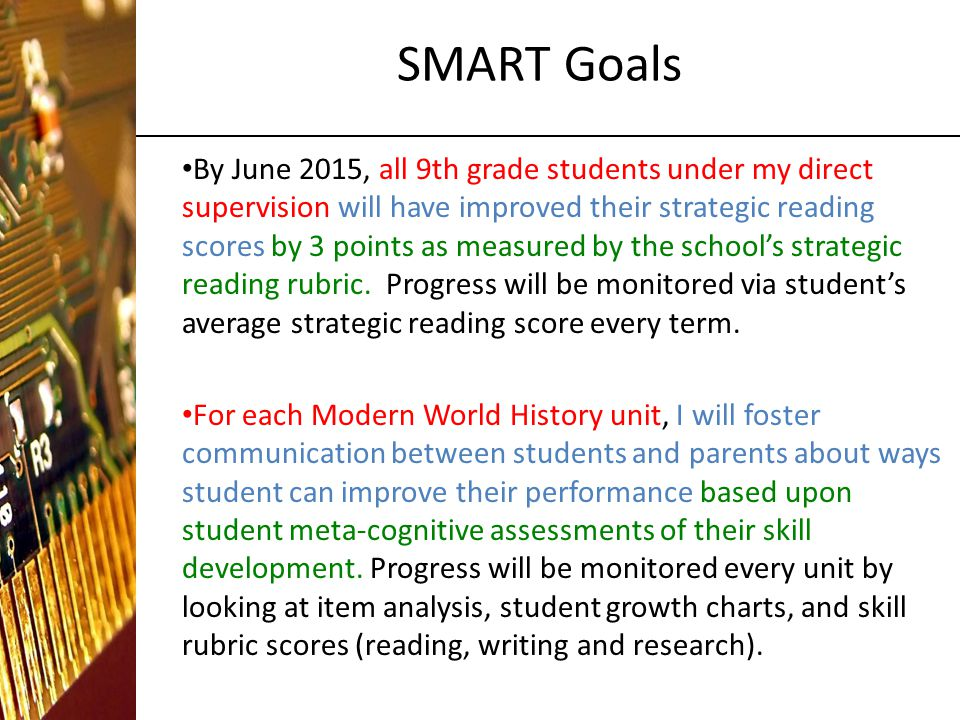 SMART Goals By June 2015, all 9th grade students under my direct supervision will have improved their strategic reading scores by 3 points as measured by the school's strategic reading rubric.
