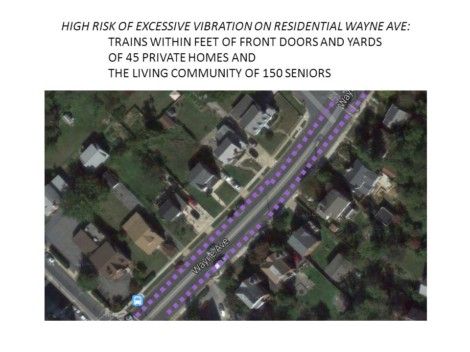 HIGH RISK OF EXCESSIVE VIBRATION ON RESIDENTIAL WAYNE AVE: TRAINS WITHIN FEET OF FRONT DOORS AND YARDS OF 45 PRIVATE HOMES AND THE LIVING COMMUNITY OF 150 SENIORS HIGH RISK OF EXCESSIVE VIBRATION ON RESIDENTIAL WAYNE AVE: TRAINS WITHIN FEET OF FRONT DOORS AND YARDS OF 45 PRIVATE HOMES AND THE LIVING COMMUNITY OF 150 SENIORS