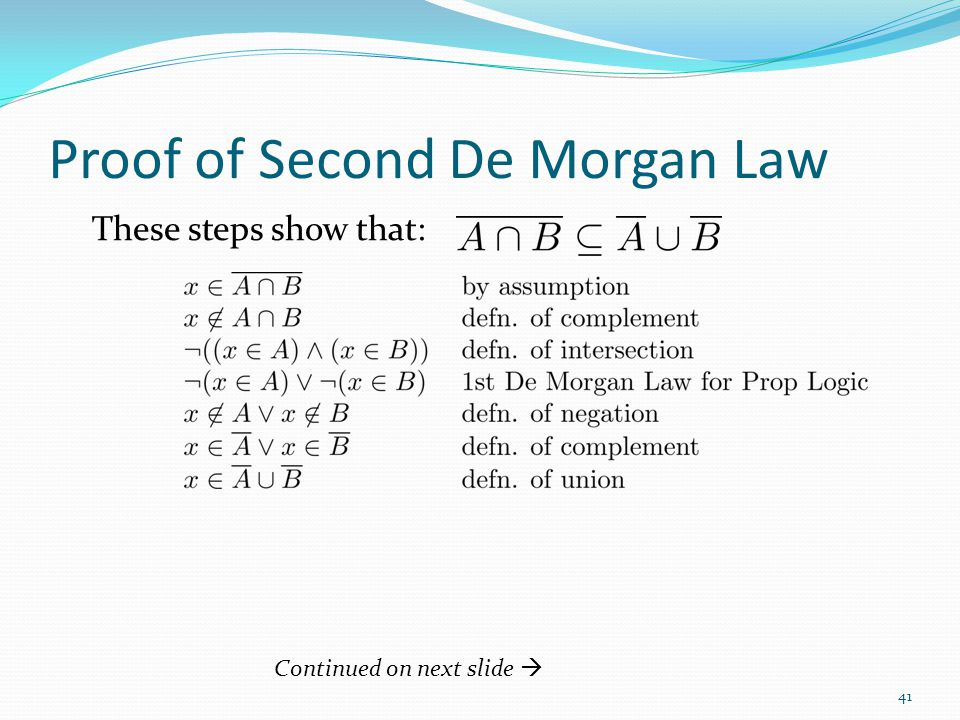 Proof of Second De Morgan Law These steps show that: Continued on next slide  41