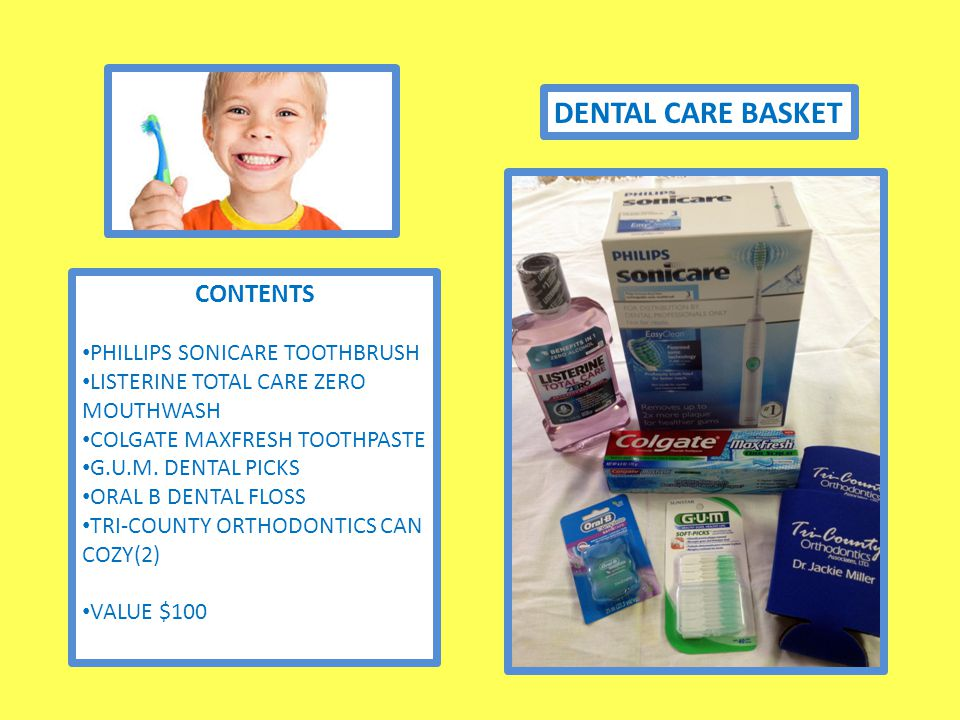 DENTAL CARE BASKET CONTENTS PHILLIPS SONICARE TOOTHBRUSH LISTERINE TOTAL CARE ZERO MOUTHWASH COLGATE MAXFRESH TOOTHPASTE G.U.M.