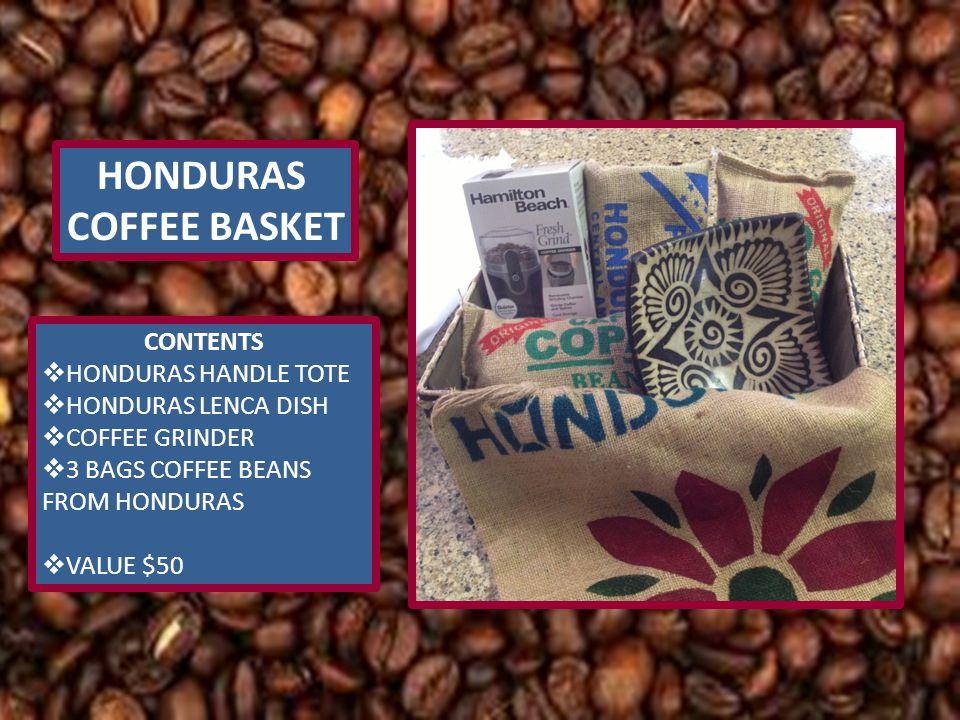 HONDURAS COFFEE BASKET CONTENTS  HONDURAS HANDLE TOTE  HONDURAS LENCA DISH  COFFEE GRINDER  3 BAGS COFFEE BEANS FROM HONDURAS  VALUE $50