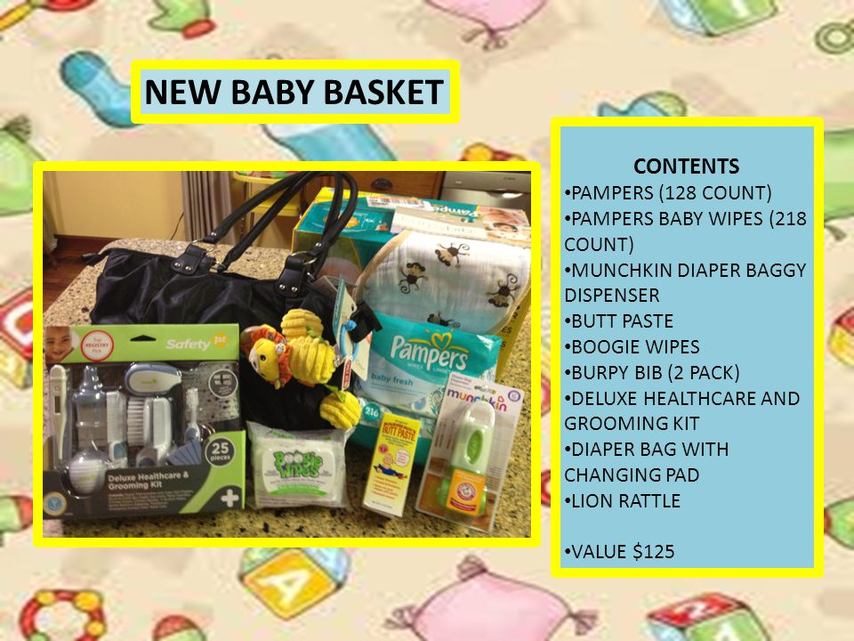NEW BABY BASKET CONTENTS PAMPERS (128 COUNT) PAMPERS BABY WIPES (218 COUNT) MUNCHKIN DIAPER BAGGY DISPENSER BUTT PASTE BOOGIE WIPES BURPY BIB (2 PACK) DELUXE HEALTHCARE AND GROOMING KIT DIAPER BAG WITH CHANGING PAD LION RATTLE VALUE $125