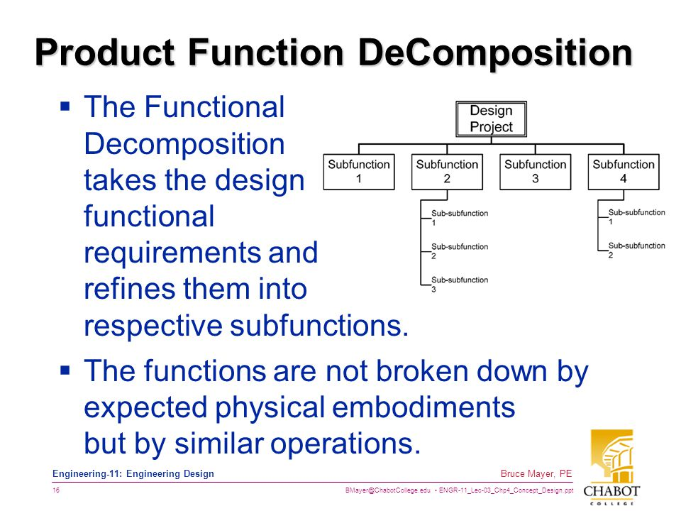 BMayer@ChabotCollege.edu ENGR-11_Lec-03_Chp4_Concept_Design.ppt 16 Bruce Mayer, PE Engineering-11: Engineering Design Product Function DeComposition 