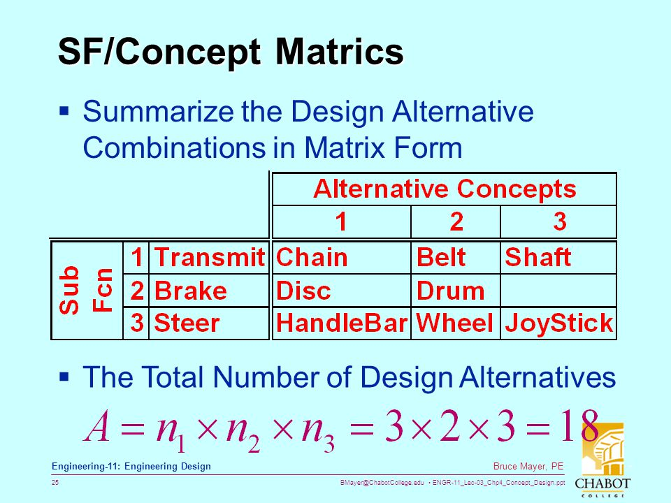 BMayer@ChabotCollege.edu ENGR-11_Lec-03_Chp4_Concept_Design.ppt 25 Bruce Mayer, PE Engineering-11: Engineering Design SF/Concept Matrics  Summarize t