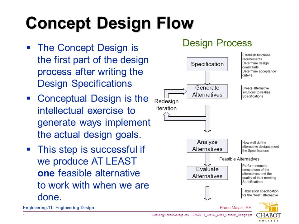 BMayer@ChabotCollege.edu ENGR-11_Lec-03_Chp4_Concept_Design.ppt 5 Bruce Mayer, PE Engineering-11: Engineering Design Terms of the Trade  Conceptual Design Process ≡ The generation of design alternatives or Design Concepts and the supporting analysis to determine the feasibility of each alternative.