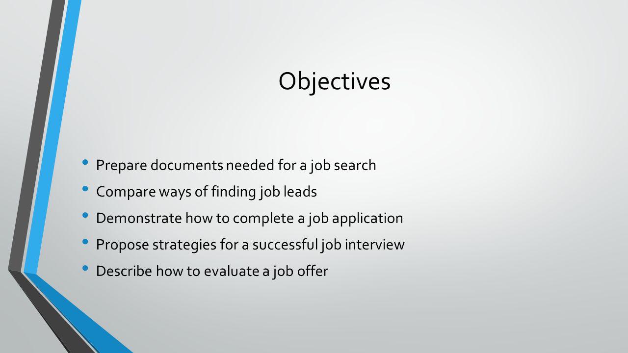 Key Terms Résumé References Portfolio Job leads Networking Cover letter Compensation package