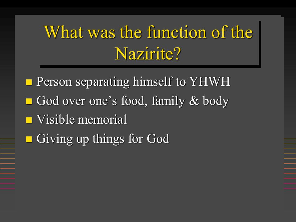 Completion of Nazirite vow n Sacrifices n Shave head & burn hair n Samson, Samuel, Paul takes Nazirite vow (Acts 21:24ff) n Jesus not a Nazirite (Nazarene) n Oldest piece of Scripture ever found: Num 6:23ff; 700 BC not= P (450 BC)