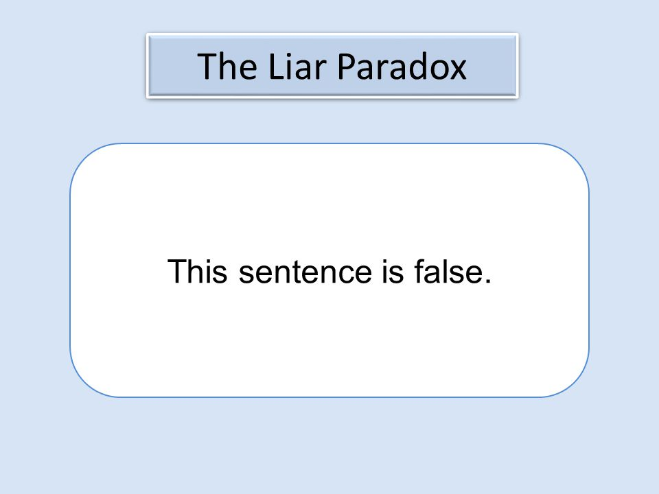 The Liar Paradox This sentence is false.