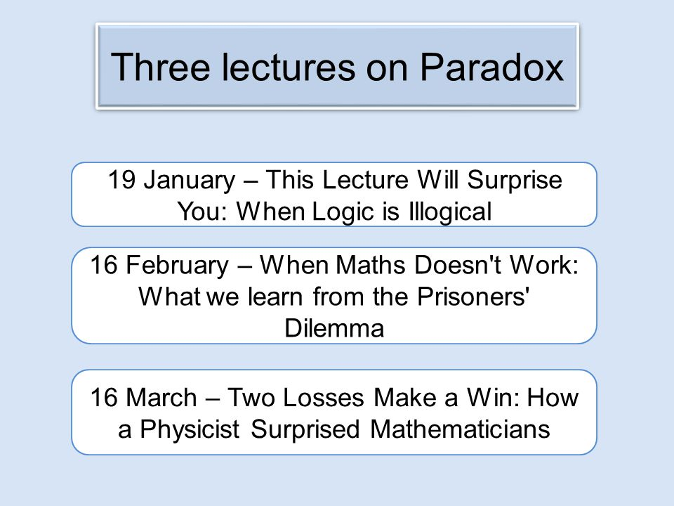 16 March – Two Losses Make a Win: How a Physicist Surprised Mathematicians 16 February – When Maths Doesn t Work: What we learn from the Prisoners Dilemma 19 January – This Lecture Will Surprise You: When Logic is Illogical Three lectures on Paradox