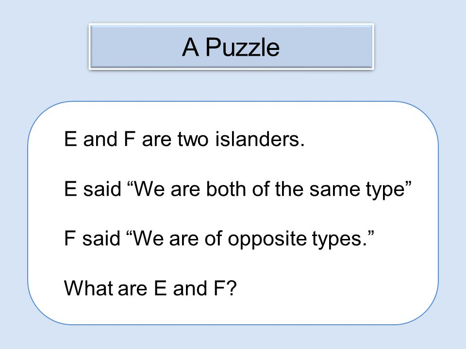 A Puzzle E and F are two islanders.