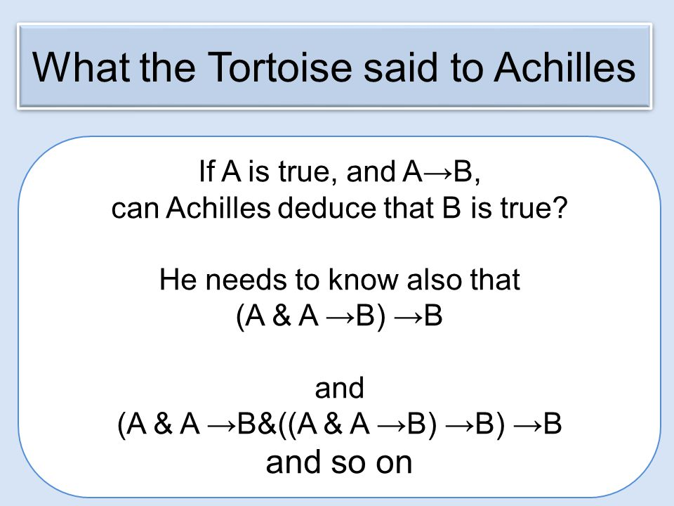 If A is true, and A→B, can Achilles deduce that B is true.