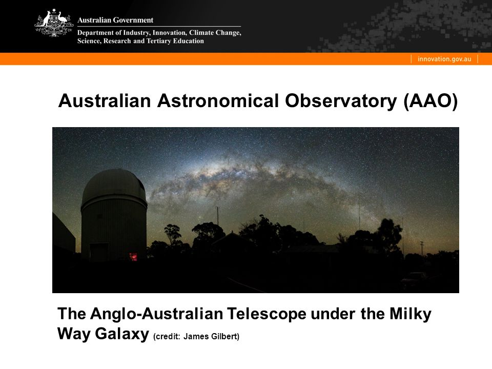 Australian Astronomical Observatory (AAO) The Anglo-Australian Telescope under the Milky Way Galaxy (credit: James Gilbert)
