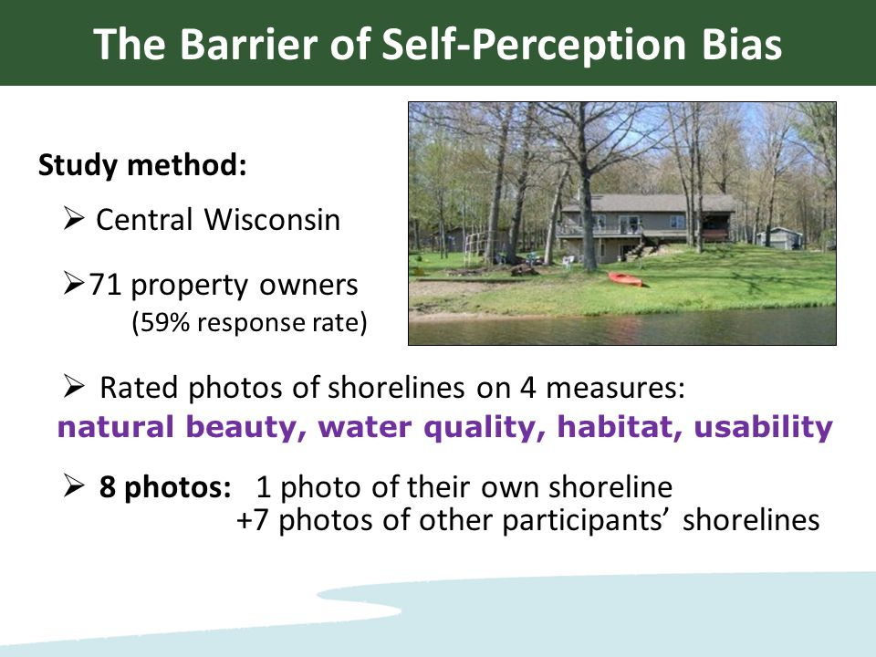 Study method:  Central Wisconsin  71 property owners (59% response rate)  Rated photos of shorelines on 4 measures: natural beauty, water quality, habitat, usability  8 photos: 1 photo of their own shoreline +7 photos of other participants' shorelines The Barrier of Self-Perception Bias