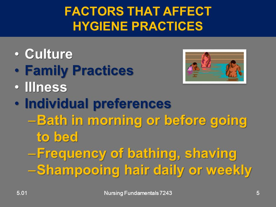Nursing Fundamentals 724376 BATHING - GUIDELINES 5.01 Use good body mechanicsUse good body mechanics Keep covered for warmth and privacyKeep covered for warmth and privacy Protect safety of resident:Protect safety of resident: –never leave unattended in bathtub or shower –take precautions to prevent slips and falls –have temperature no higher than 105°F for tub or shower