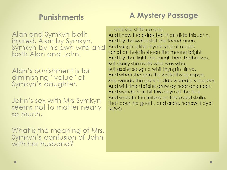Punishments A Mystery Passage Alan and Symkyn both injured, Alan by Symkyn, Symkyn by his own wife and both Alan and John.