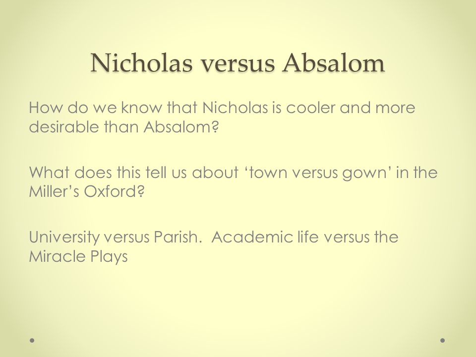 Nicholas versus Absalom How do we know that Nicholas is cooler and more desirable than Absalom.