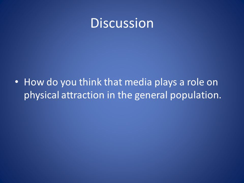 Discussion How do you think that media plays a role on physical attraction in the general population.