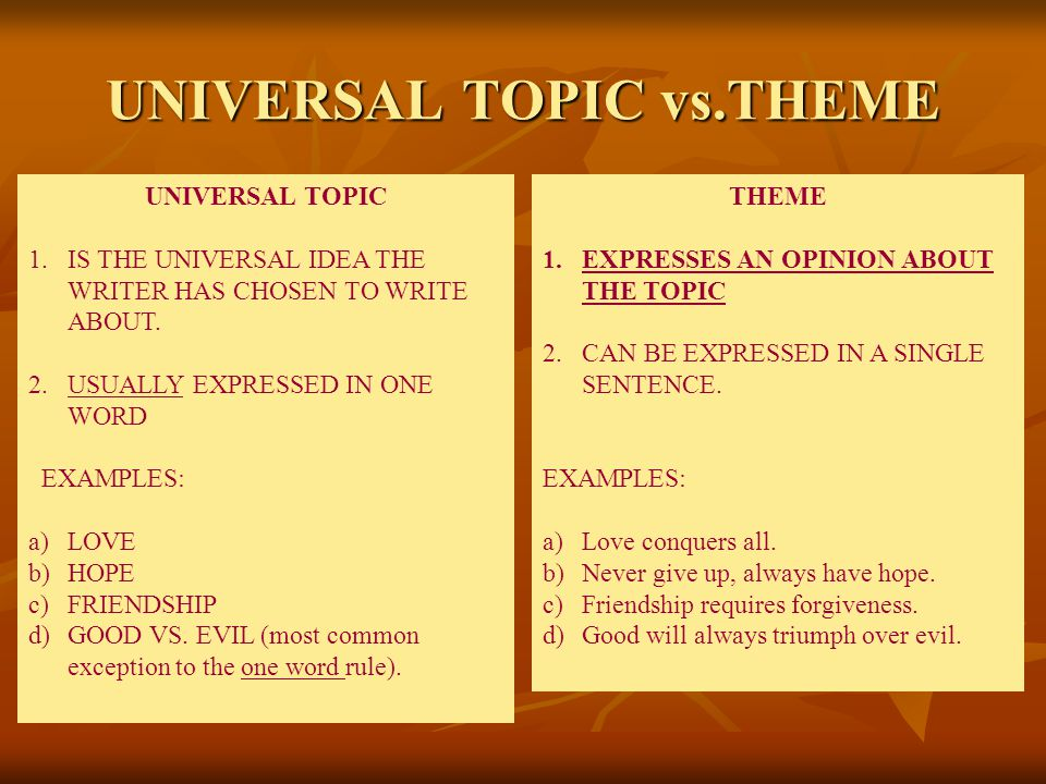 UNIVERSAL TOPIC vs.THEME THEME 1.EXPRESSES AN OPINION ABOUT THE TOPIC 2.CAN BE EXPRESSED IN A SINGLE SENTENCE.