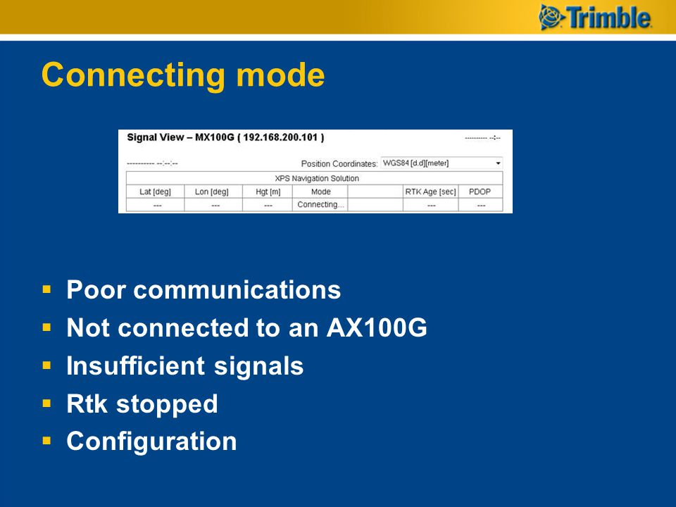 Connecting mode  Poor communications  Not connected to an AX100G  Insufficient signals  Rtk stopped  Configuration