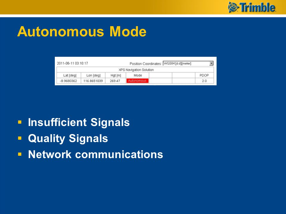 Autonomous Mode  Insufficient Signals  Quality Signals  Network communications