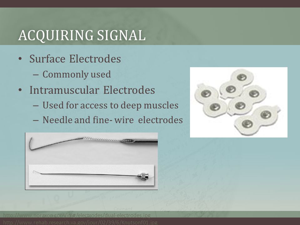 ACQUIRING SIGNALACQUIRING SIGNAL Surface Electrodes – Commonly used Intramuscular Electrodes – Used for access to deep muscles – Needle and fine- wire electrodes http://www.noraxon.com/img/electrodes/dual-electrodes.jpg http://www.rehab.research.va.gov/jour/02/39/6/Knutsonf01.jpg