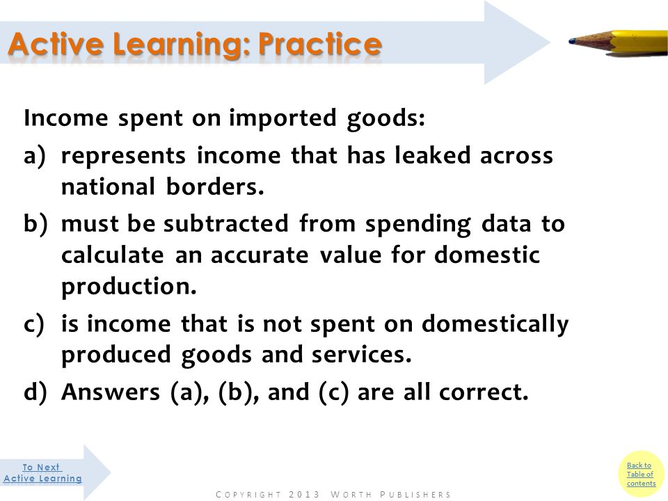 Back to Table of contents Income spent on imported goods: a)represents income that has leaked across national borders.